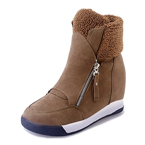 Brown US7.5   EU38   UK5.5   CN38 Brown US7.5   EU38   UK5.5   CN38 HSXZ Women's shoes Leatherette Winter Fall Fashion Boots Boots Platform Round Toe Booties Ankle Boots for Casual Party\Evening Brown Black