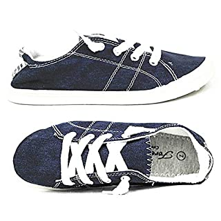 Forever Link Women's Classic Slip-On Comfort Fashion Sneaker, Navy, 7.5