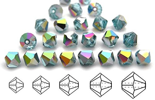 3mm Aqua Vitrail coated, Czech MC Bicone Beads (Rondell, Diamond Shape Crystals), 2.5 gross = 360 pieces