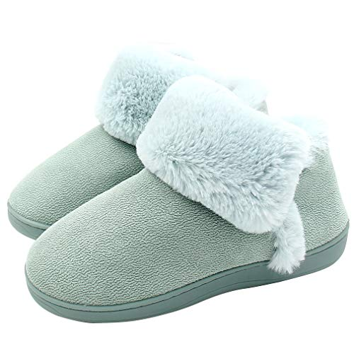 ALOTUS Women's Memory Foam Warm Slipper Ankle Boot with Thick Fur Indoor Outdoor Blue