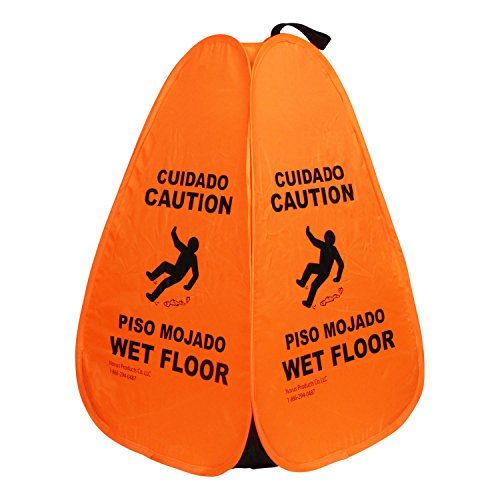 Novus 20-Inch Orange Caution Wet Floor Pop Up - Web Wet Foot Compact Mop