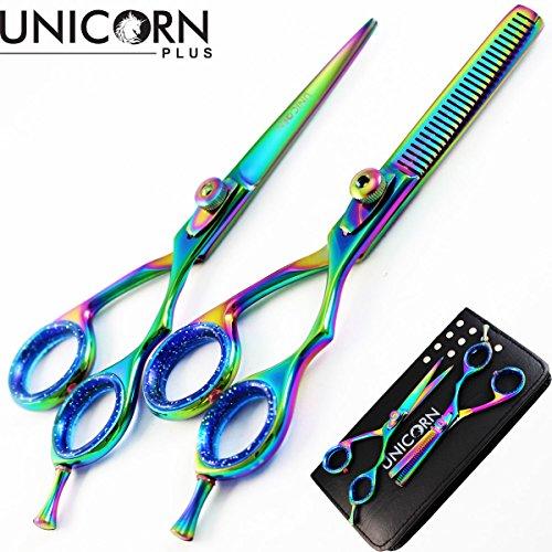Brand New - Professional 5.5 Inch Hair Cutting Scissors Set - Hair Thinning Scissors - Japanese Stainless Steel with BONUS Shaving Razor,Men Razor and Storage Bag by Unicorn Plus Scissors