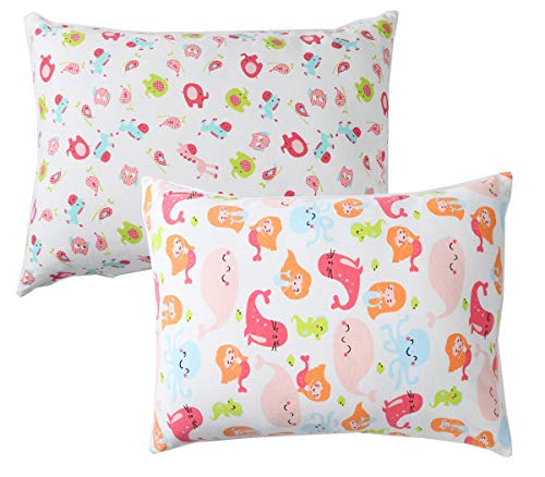 Toddler Pillowcase Zippered Set 2 Pack 100% Cotton Fits 14×19 and 13×18 Toddler Pillows for Boy and Girl Mermaid Whale…