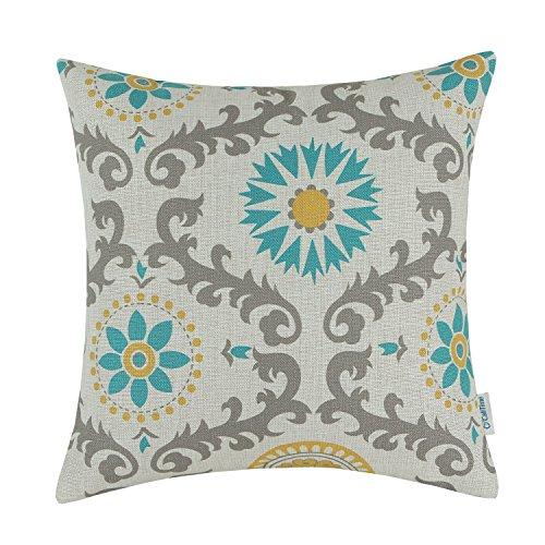 CaliTime Canvas Throw Pillow Cover Case for Couch Sofa Home Decoration Three-Tone Dahlia Floral Compass Geometric 18 X 18 Inches Turquoise/Yellow/Gray (Gray Chair Yellow And Accent)