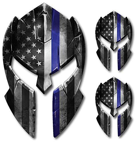 Thin Blue Line Molon Labe Spartan Helmet Gladiator Decal Come and Take it Police Fallen Officer Yeti Truck Car Van Window Vinyl Sticker ()