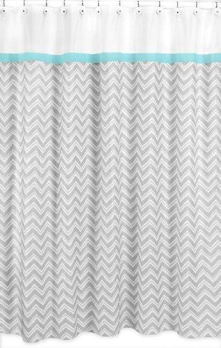 Sweet Jojo Designs Turquoise and Gray Zig Zag Kids Bathroom Fabric Bath Shower Curtain