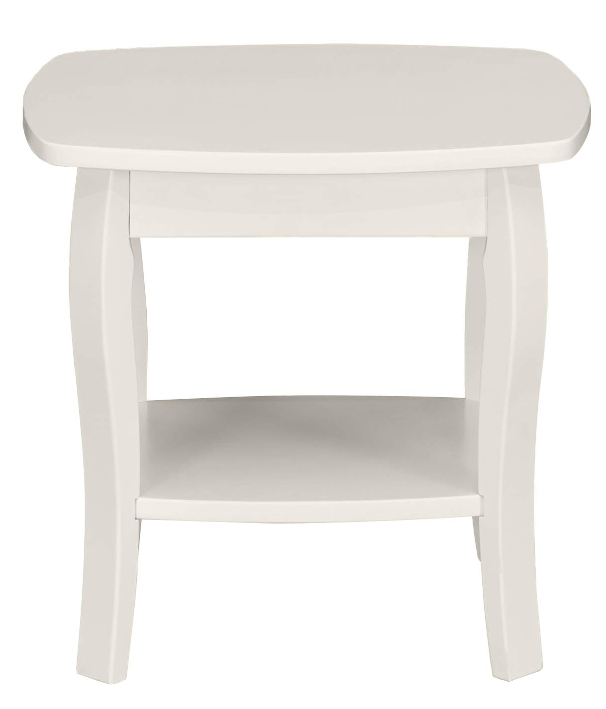 Ravenna Home Anne Marie Small Curved Leg Shelf Storage Side End Table, 20 W, White