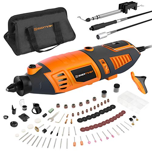 """EnerTwist Rotary Tool Kit with MultiPro Keyless Chuck, 36"""" Flex Shaft, 10 Universal Attachments and 130 Accessories, Variable Speed Electric Drill Set for Home DIY and Crafting Projects, ET-RT-170"""
