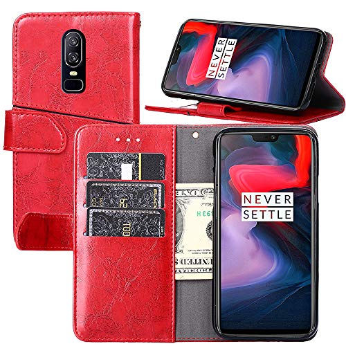 One Plus 6 Wallet Case,OnePlus 6 Case,Wallet Case for OnePlus 6[Stand Feature] Protective Quality Leather Flip Cover with Credit Cards Slot,Side Cash Pocket and Magnetic Clasp Closu (Red)