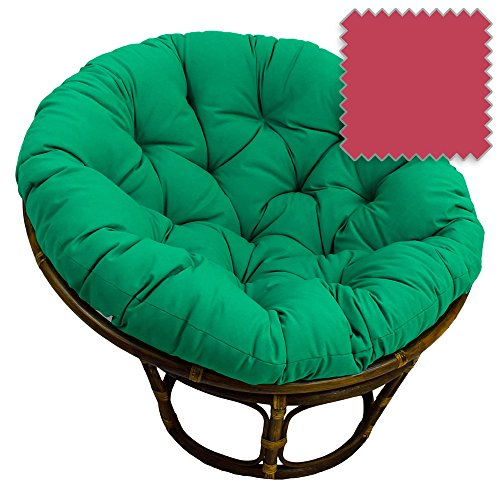 42-Inch Bali Rattan Papasan Chair with Cushion - Solid Twill Fabric, Berry Berry - DCG Stores Exclusive (Patio Pier Cushions 1 Furniture)