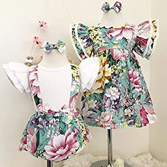 2019 Kid Baby Girls Sisters Matching Ruffle T-Shirts Overall Floral Shorts Outfit Set+Floral Print Dress