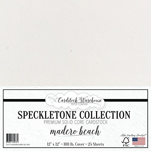 Madero Beach SPECKLETONE Recycled Cardstock Paper - 12 x 12 inch - Premium 100 LB. Cover - 25 Sheets