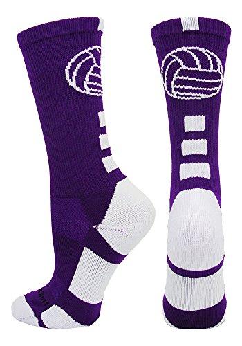 MadSportsStuff Volleyball Logo Crew Socks (Purple/White, Medium)