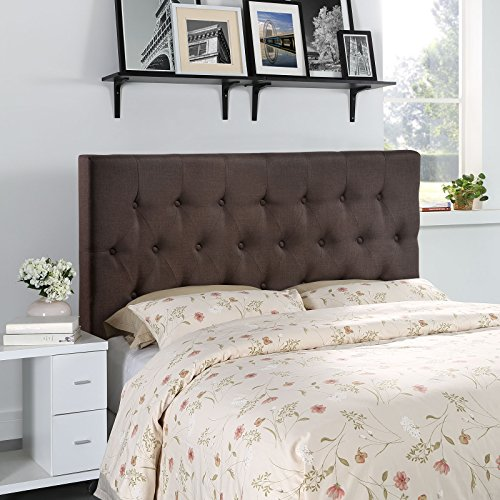 Modway Clique Tufted Button Diamond Pattern Linen Fabric Upholstered Queen Headboard in Dark Brown