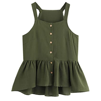 abd69b53eae4e Amazon.com - Women s Summer Button Ruffle Sleeveless Pleated Closure Casual  Crop Tank Tops (Green