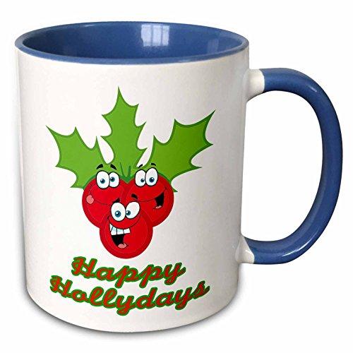 3dRose Dooni Designs More Random Cartoon Designs - Happy Hollydays Holidays Cute Cartoon Holly Berries - 15oz Two-Tone Blue Mug (mug_118750_11)