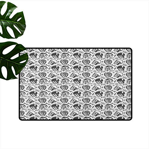 Manly Door mat Customization Greyscale Pattern with Rider