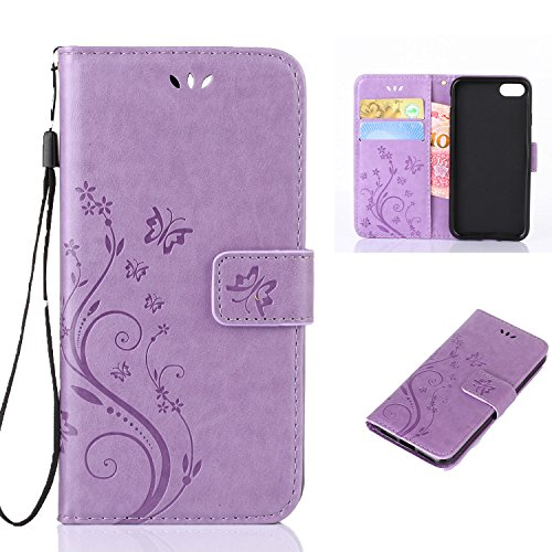 iPhone 7 Plus Case,iPhone 7 PLUS Wallet Case,LW-Shop for iPhone 7 PLUS PU Leather Case [Built-in Credit Card Slots] Magnetic Design Flip Folio Leather Cover with Flower Butterfly Pattern(Light ()