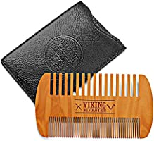 Wooden Beard Comb & Case, Dual Action Fine & Coarse Teeth, Perfect for use with Balms and Oils, Top Pocket Comb for...