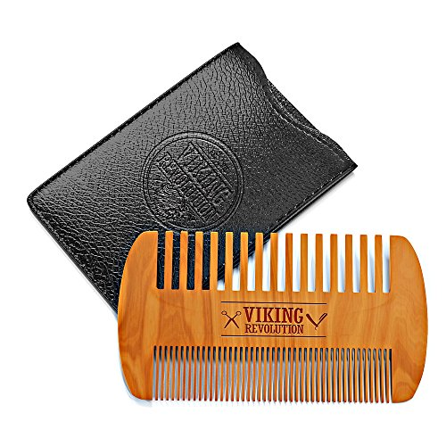 Wooden Beard Comb & Case, Dual Action Fine & Coarse Teeth, Perfect for use with Balms and Oils, Top Pocket Comb for Beards & Mustaches by Viking Revolution ()
