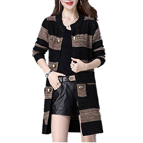 Taiduosheng Women's Loose Double Breasted long Knit Cardigan Sweater jacket coat Black (Double Breasted Knit Jacket)