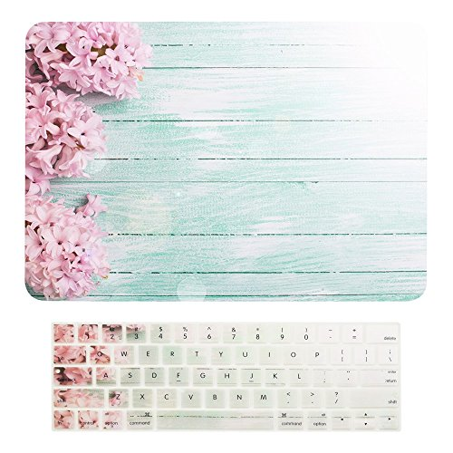TOP CASE - 2 in 1-Floral Pattern Matte Hard Case + Keyboard Cover Compatiable with MacBook Pro 13 (13 Diagonally) Model: A1989,A1706 with Touch Bar(Release 2016,2017,2018) - Pink Hyacinth