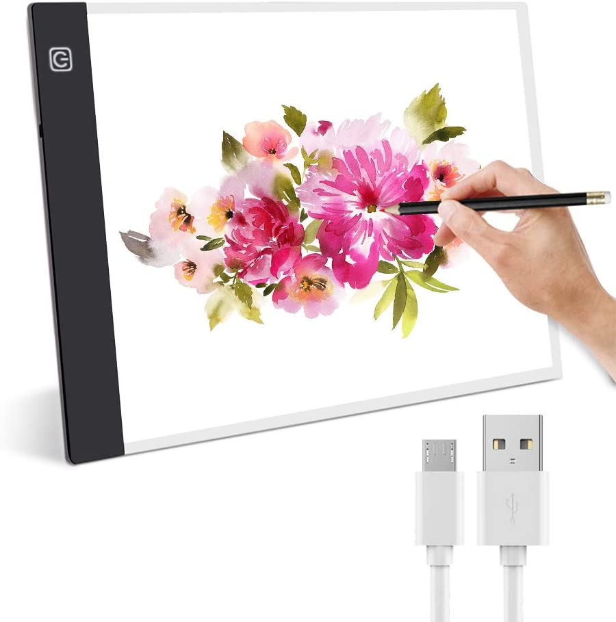 Mesa de Luz de Dibujo,Guiseapue LED A4 Tableta de Luz,Tablero de Trazado Brillo Ajustable,Light Pad para Trazar Dibujos Animación Bocetos Diseño X-Ray