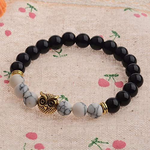 (Hebel Mens Spot Natural Lava Stone Gold Silver Owl 8MM Beaded Charm Bracelet 7.5 | Model BRCLT - 31682 |)