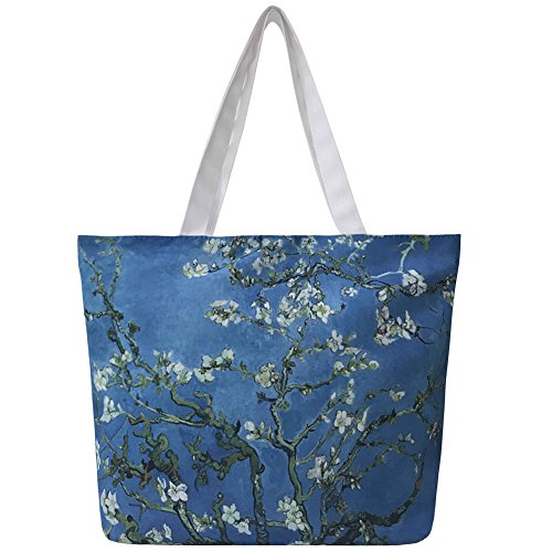 Vintga Large Printed Design Ladies Zipper Shoulder Shopping Women Handbags Tote Bags (Apricot Flower)
