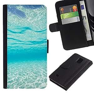 iBinBang / Flip Funda de Cuero Case Cover - Light Blue Sea Under Water Paradise Waves - Samsung Galaxy Note 4 SM-N910