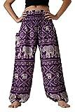 Bangkokpants Women's Plus Size Yoga Pants Maternity Clothes Bohemian Elephant Design US 14-22 (Purple)