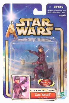 Star Wars Saga 2002 Zam Wesell (Attack of the Clones) Action Figure 3.75 Inches