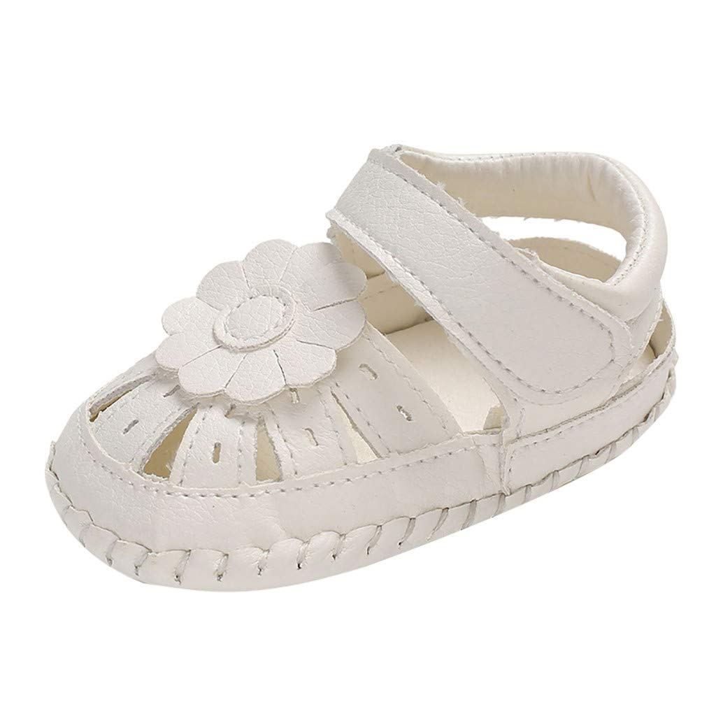 NUWFOR Baby Girls Big Flower Decorative Soft Bottom Sandals Shoes Non-Slip Baby Shoes(White,13-18Months)