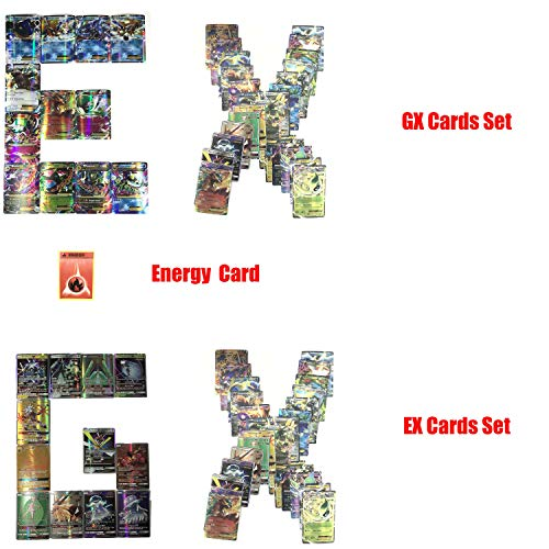 (100 Cards TCG Style Card Holo EX Full Art,60 EX Cards, 20 Mega EX Cards, 20 GX Cards 1 Energy Card)