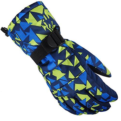 KARRESLY Waterproof Warmest Winter Snow Skiing Snowboarding Snowmobile Ski Gloves For Mens, Womens, Boys, Girls, Kids(Yellow-Blue-XL)
