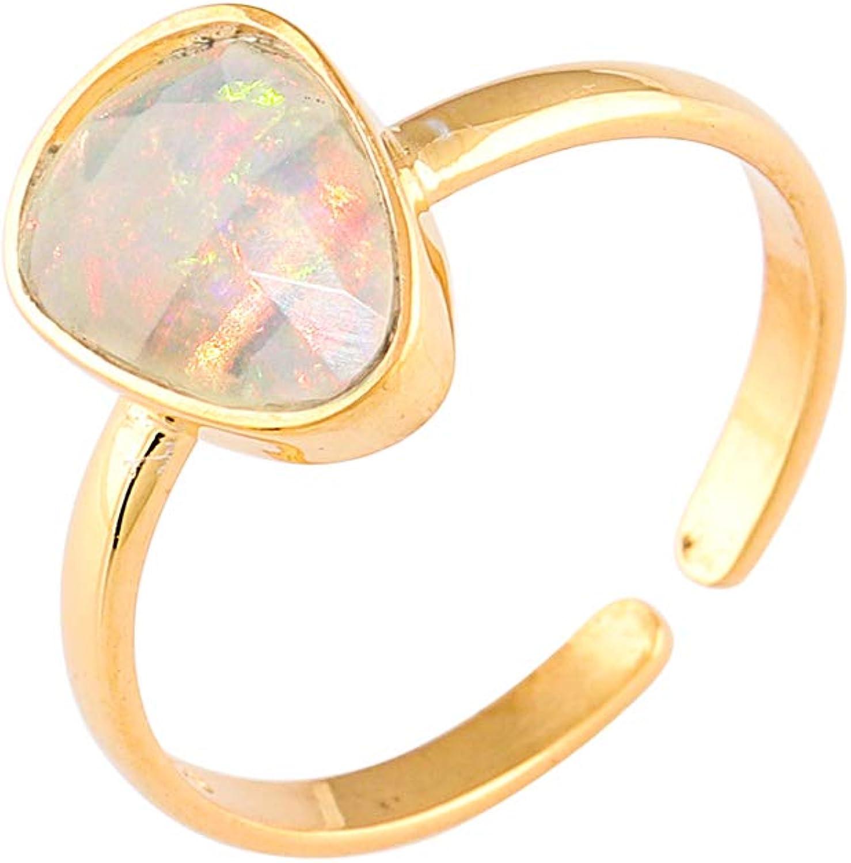 OOAK Anillo de bisel de plata esterlina con piedras preciosas de ópalo natural, joyería hecha a mano, cristal de curación de chakra, piedra energética, yoga, anillo de meditación, anillos para mujeres