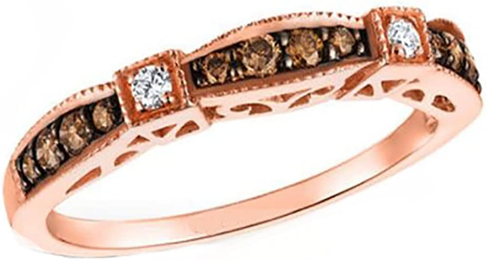Ginger Lyne Collection Chocolate Anniversary Band Bridal Wedding Ring Rose Gold Over 925 Sterling Silver Cubic Zirconia