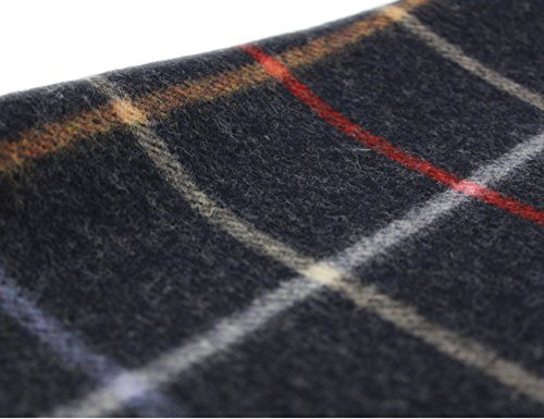 "Irish Wool Scarf Lambswool Navy Plaid 63"" x 12"" Made in Ireland by John Hanly (Image #4)"