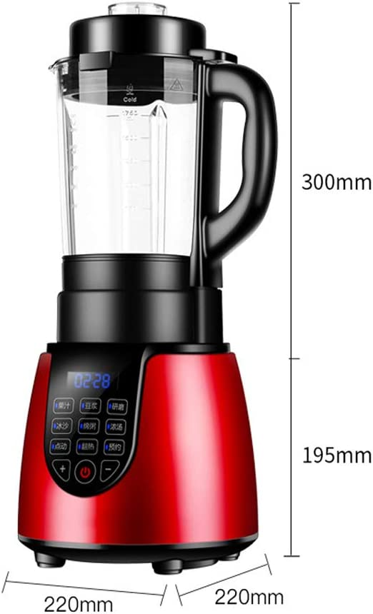 Licuadora personal multifunción de uso doméstico de 800 vatios, exprimidor lento con motor silencioso de dos etapas y función de reversa, rojo: Amazon.es: Hogar