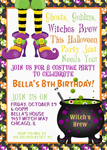 (Kids Halloween Birthday Party Invitations, Halloween Birthday Costume Party Invitation With Envelopes)