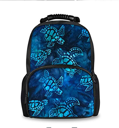 (YongColer Boys Girls Teens Cute Fashion Backpack School Bags Bookbag, Travel Camping Hiking Large Capacity Daypack - Watercolor Blue Sea Turtle)