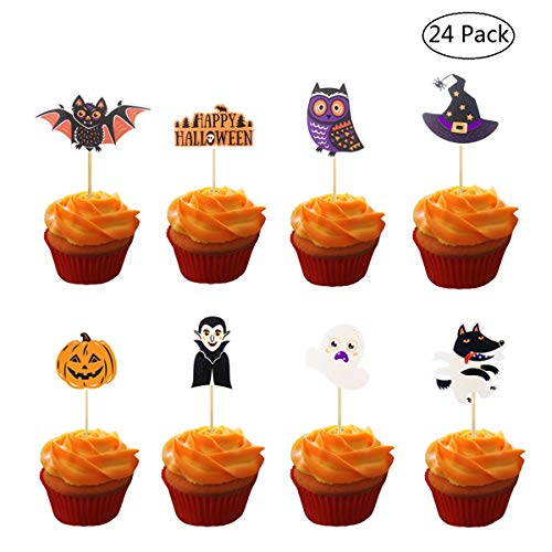 Creaides 24pcs Happy Halloween Themed Party Cake Toppers Bat Pumpkin Wolf Owl Ghost Witch Cake Food Picks Decoration]()