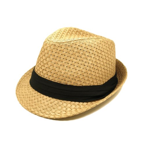 Premium Classic Tan Fedora Straw Hat with Black Band