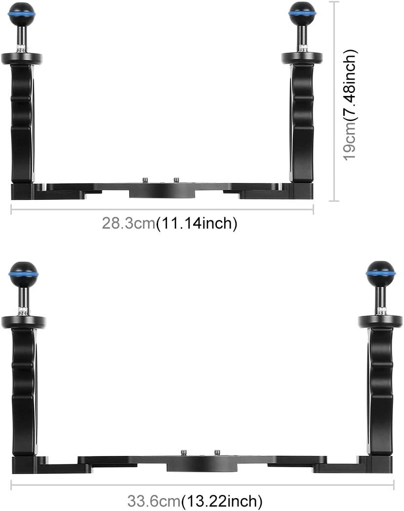 MEETBM ZIMO,Dual Handles Aluminium Alloy Tray Stabilizer for Underwater Camera Housings Black Color : Black