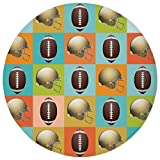 Round Rug Mat Carpet,Football,Colorful Squares Mosaic Pattern with Protective Helmets and Balls College Activity Decorative,Multicolor,Flannel Microfiber Non-slip Soft Absorbent,for Kitchen Floor Bath