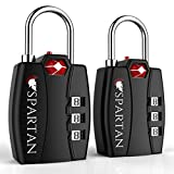 Spartan Travel TSA Approved Locks Best Combination Security Padlocks for Luggage Backpack Suitcase Pelican Case Briefcase Security Cable Filing Cabinet Toolbox Bike School or Gym Locker (black 2 pack)