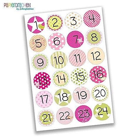 Numeri Per Calendario Avvento.Papierdrachen 24 Adesivi Con Numeri Per Il Calendario Dell Avvento Rosa Verde Per Bambine N 14 Adesivi Per Creare E Decorare
