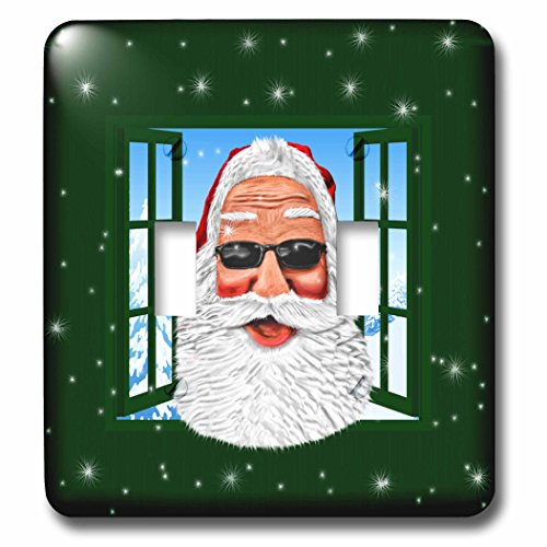 3D Rose LSP_239261_2 Cool Santa in Sunglasses Looking Through Window with Snow Double Toggle ()