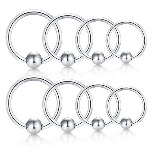 JFORYOU Cartilage Hoop Helix Earrings Nose Rings Hoop Stainless Steel Ear Tragus Piercing Captive Bead Rings Silver Set 18G 6mm 8mm 10mm 12mm