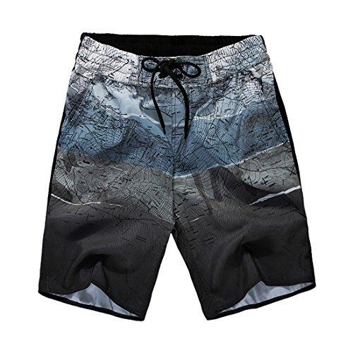 Nantersan Men's Quick Dry Swim Board Shorts Surfing Trunks World Map Printing Beach Shorts
